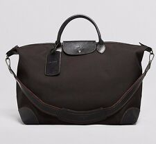 $795 LONGCHAMP MEN BLACK NYLON LEATHER LARGE DUFFLE TRAVEL WEEKENDER LUGGAGE BAG