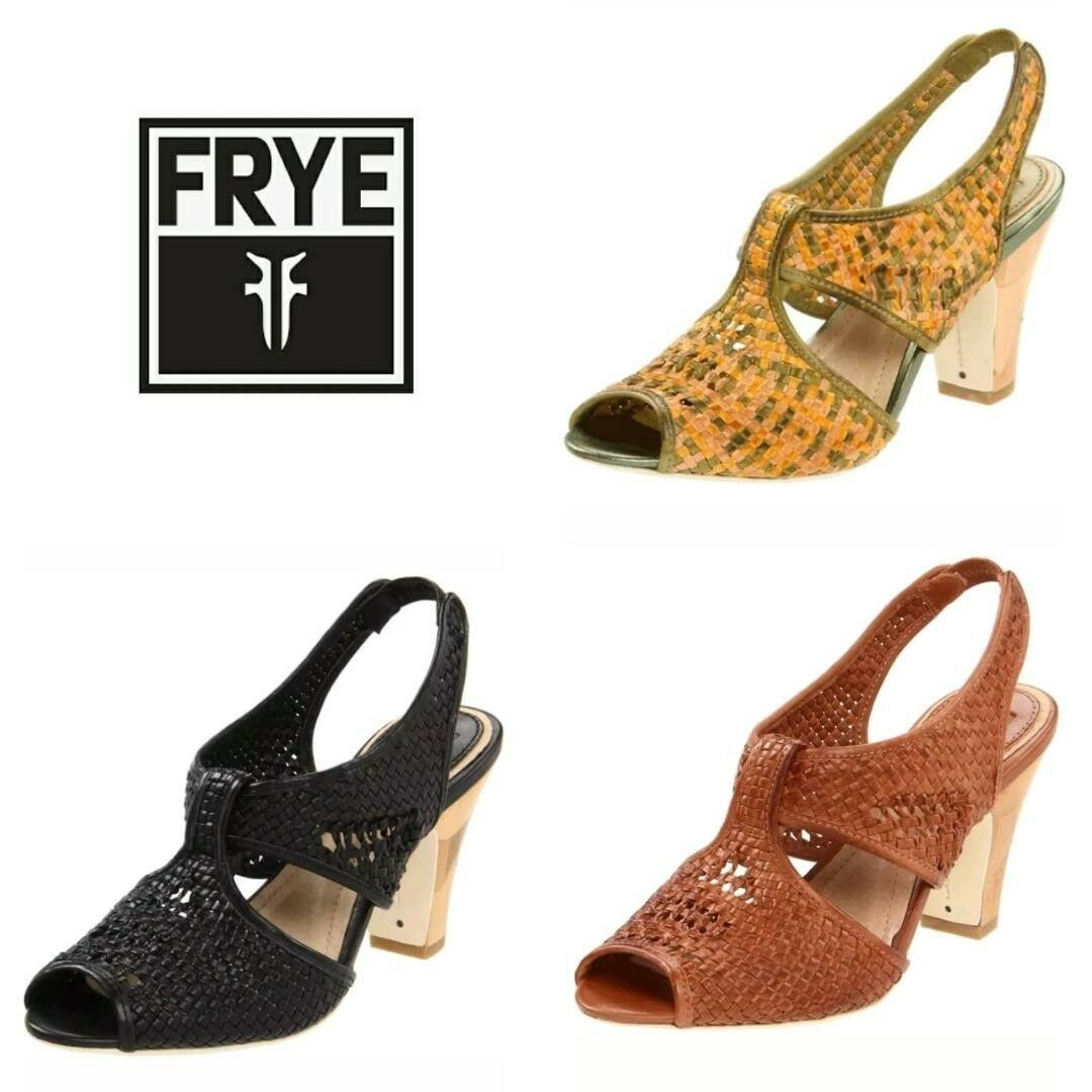 228 FRYE Woven Leather Open Toe Slingback Sandals Heels shoes  8M-10M  M3020