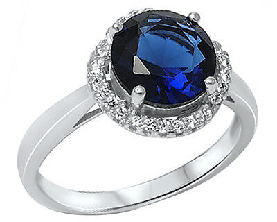 .925 Sterling Silver Round Blue Sapphire Halo CZ Ring RC914