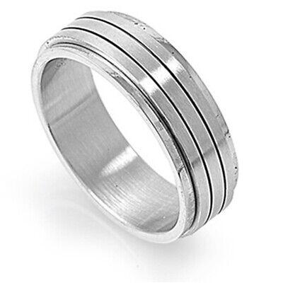 Men/'s 8mm Stainless Steel 316L Ring Dark Color Grooved Spinner Band Gift box