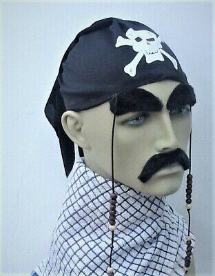 Accurato Pirata Nero Scull Berretto Bandana E Perline Da Appendere Fantasia Abito. Regno Unito Spedizione Veloce-mostra Il Titolo Originale