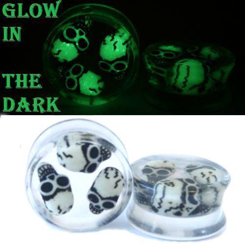 PAIR-3 D SKULLS  Glow In the Dark Acrylic Ear Gauges-Ear Plugs-Flesh Tunnels