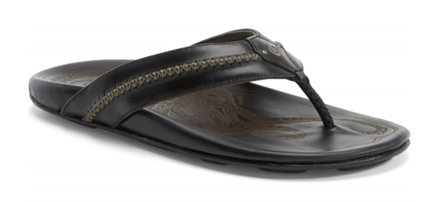 9e628a0d08c6 OluKai Mea Ola Embossed Leather Flip Flops Men s Size 8 Black for ...