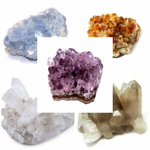 Lot-of-5-Celestite-Citrine-Amethyst-Clear-amp-Smokey-Quartz-Crystal-Cluster-Geode