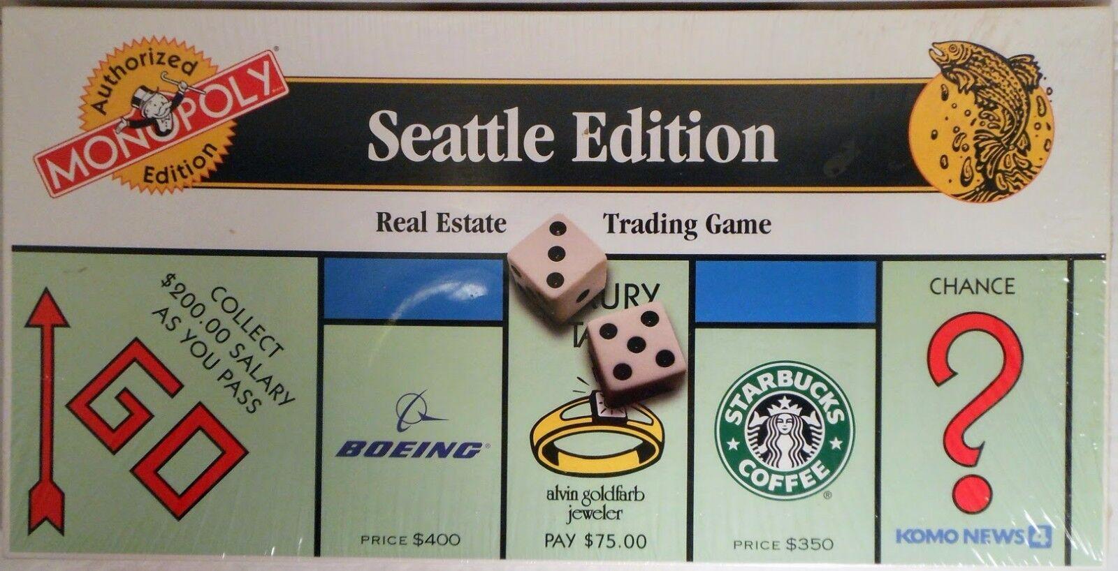Monopolio Nuevo-Edición autorizado de Seattle (1997 Usaopoly) Envío urgente Gratuito