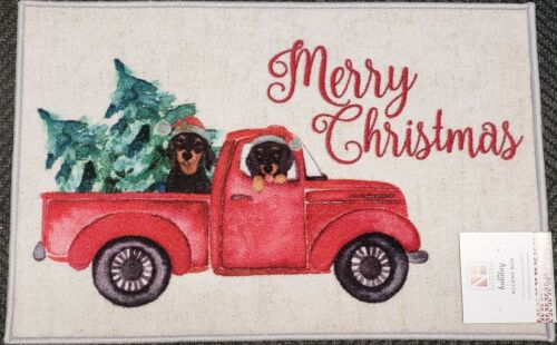 """nonskid MERRY CHRISTMAS Natco DOGS IN RED TRUCK 20/""""x30/"""" PRINTED KITCHEN RUG"""