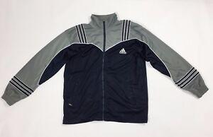 Adidas-felpa-tuta-vintage-usato-uomo-donna-giacca-jacket-sport-blu-unisex-T2348