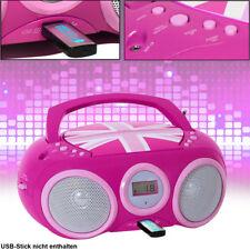 Mädchen Stereo Radio CD Spieler USB Slot Kinder Zimmer Musik Anlage tragbar Pink
