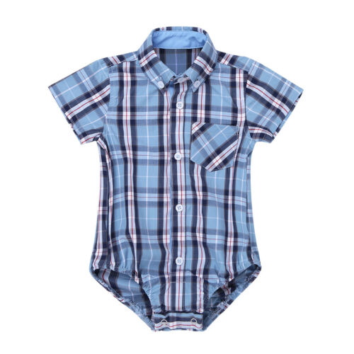Infant Baby Kids Lapel Plaid Shirt Romper Bodysuit Boys Girls Cotton Jumpsuit