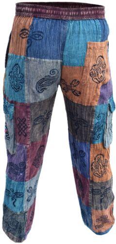 in vita patchwork elastico cotone in con symbol om boho Pantalone uomo xFq4zCHwWU