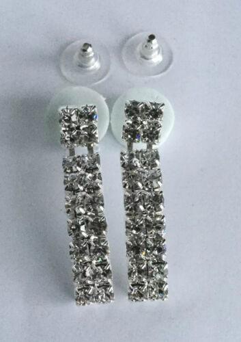 Cristal brillante diamanté Rectángulo pendientes de fiesta nupcial Aprox 4cm Gota