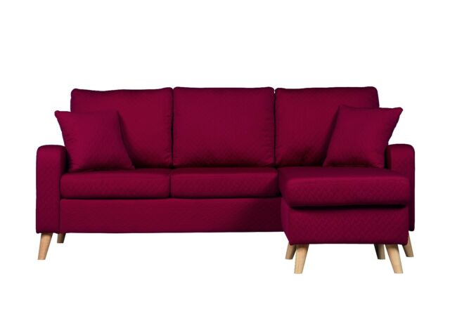 Red Mid Century Modern Fabric Small Space Sectional Sofa
