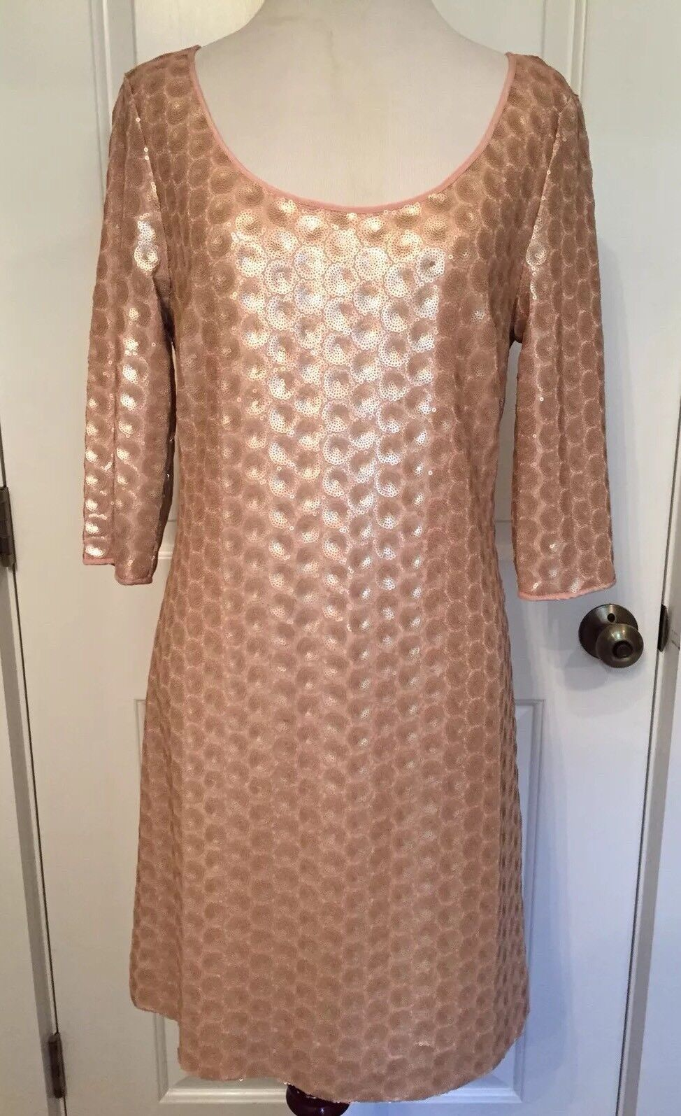 ETCETERA WOMENS DRESS MINI SHIFT 2 TRUNK SHOW PINK LIGHT gold FULLY SEQUINED