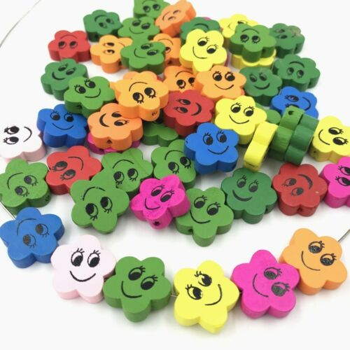 DIY Mixed Loose Beads Smiley face Flower Wood bead Pacifier Clip Accessories