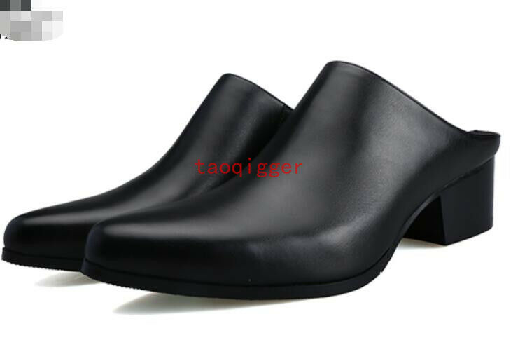 Men Leather Shoes Pointy Toe British Mules Slip On Med Block Heels Slipper Pumps