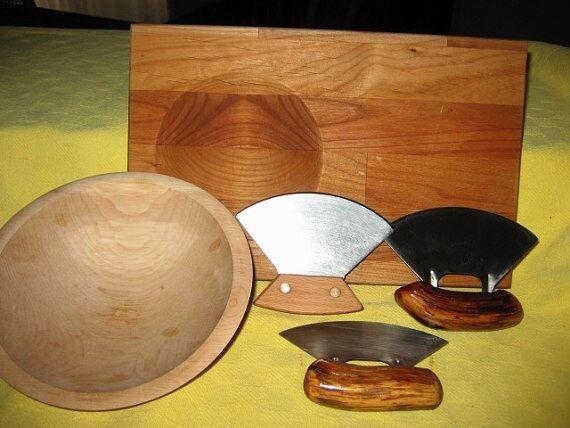 Ulu Knife with Cutting Board and Chopping Bowl