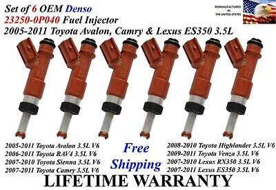 Genuine Denso Set Of 6 Fuel Injectors for Lexus ES350 Toyota RAV4 Camry 3.5L