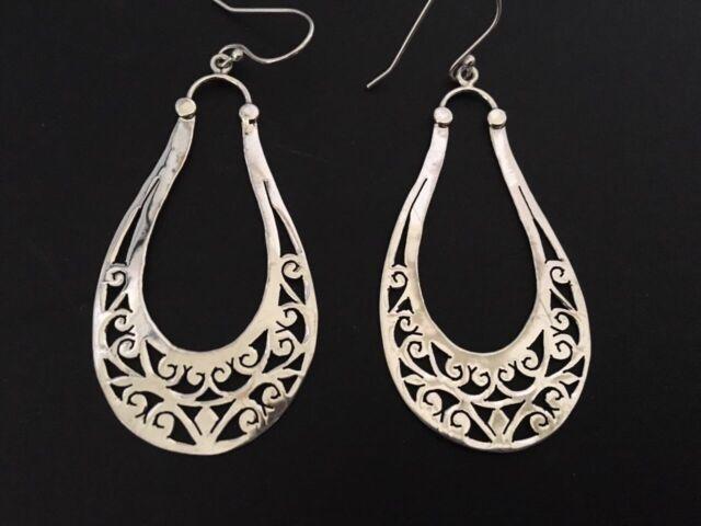 Genuine 925 Sterling Silver Teardrop Earrings Pear Shape Filigree Long Large
