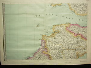 1868 HAND COLOURED MAP ~ BRISTOL CHANNEL ~ DEVON SOMERSET DARTMOOR