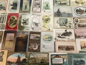 Lot-of-30-OLD-VINTAGE-NAUTICAL-SHIPS-BOATS-WATER-SCENES-POSTCARDS-p704