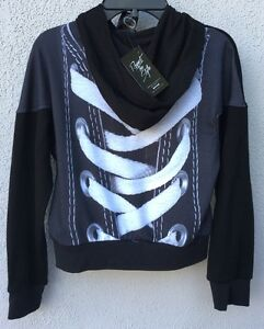 159b7e1a Details about $97 NWT Zara Terez Lace Up Design Back And Black Front Zipper  Hoodie Size Large