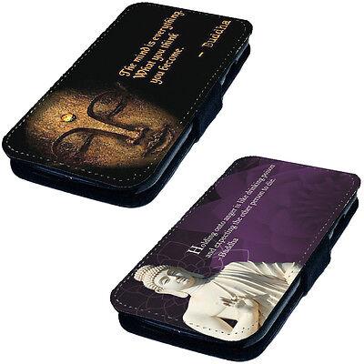Bouddha Citation Modèle - Faux Cuir Imprimé À Clapet Téléphone Étui Coque