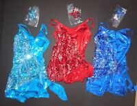 Shorty Unitard Metallic Foil Sequin Overlay Ch/ladies Szs 3 Colors Camisole