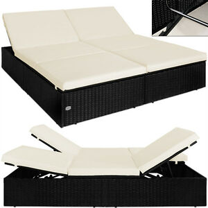 doppel sonnenliege poly rattan liege liegestuhl lounge couch sofa gartenliege sw ebay. Black Bedroom Furniture Sets. Home Design Ideas