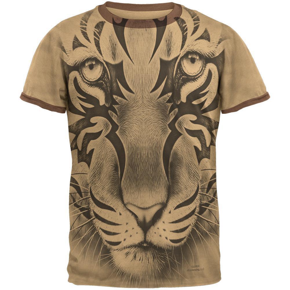 Tribal Tiger Ghost Tan-Brown Men's Ringer T-Shirt