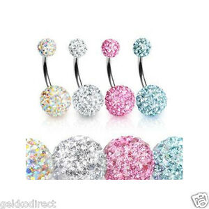 Surgical-Steel-Shamballa-Disco-Ball-Belly-Bar-Navel-Ring-Choose-Colour