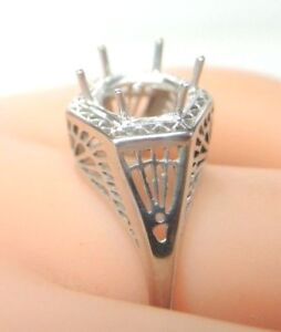 Antique-Art-Deco-Filigree-Mounting-Setting-14K-White-Gold-Hold-7-5-9MM-Size-9