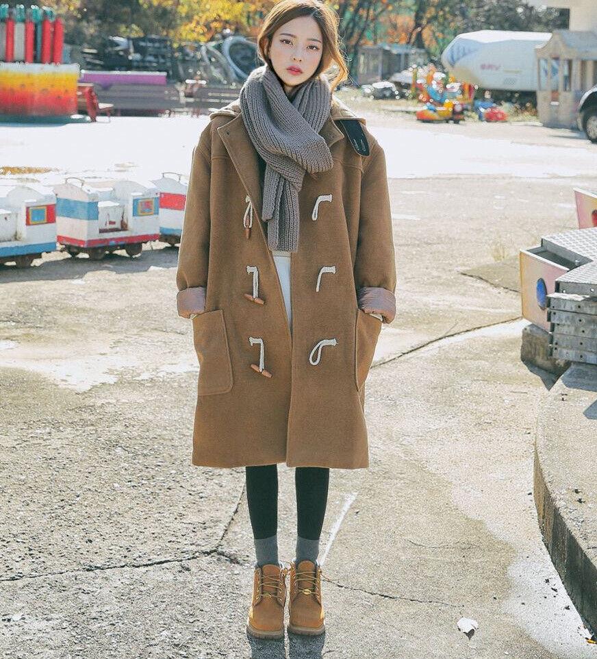 Preppy Style Femme Corne Bouton Duffel-coat d'hiver à capuche veste en laine Nouveau