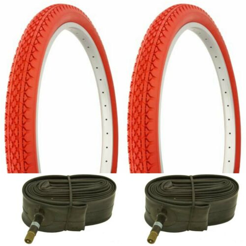 "2 RED 24x2.125/"" BEACH CRUISER BIKE XXX TIRES// TUBES FIT SCHWINN"