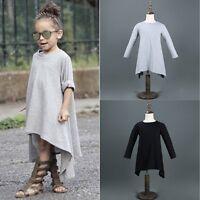 Toddler Baby Girl Kids Long Sleeve Princess Party Tutu Dress Skirt Sundress 1-6Y