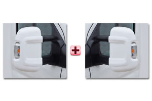 FIAT-DUCATO-Door-Mirror-Casing-PROTECTOR-Protective-Covers-WHITE-LONG-Pair-2006