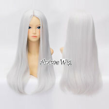 60CM Long Silver White Straight Party Women Lolita Cosplay Wig Heat Resistant