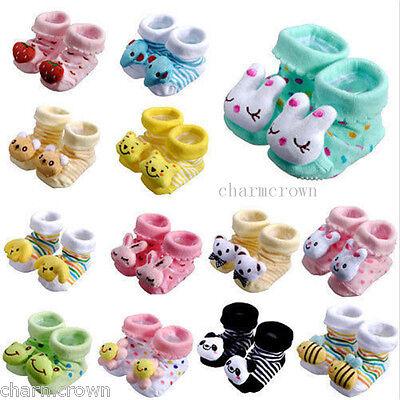0-6Month Cute Newborn Baby Unisex Indoor Anti-slip Warm Socks Animal Shoes Boots