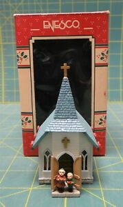 """2001 Enesco Treasury of Christmas Ornaments """"Old Town Church"""" Hand Painted"""