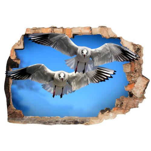 Wall Stickers Seagulls Birds Sky Summer Bedroom Girls Boys Small Kids D002