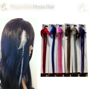 New-Beautiful-Grizzly-Feather-Clip-in-Hair-Extensions-6-Colours
