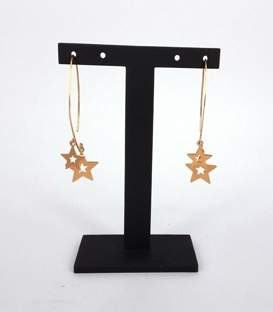 Miran 141076 18K pink gold Dangling Double Star Earring 1.8g RRP 369