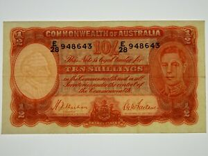 1939-Ten-Shillings-Sheehan-MacFarlane-Banknote-in-Very-Fine-Condition