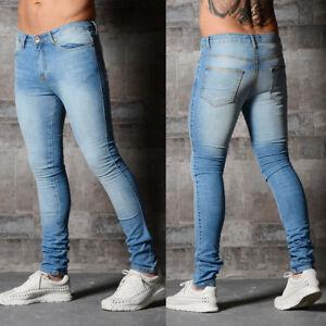 Mens-Stretchy-Skinny-Jeans-Biker-Trousers-Jogger-Slim-Fit-Denim-Ripped-Pants