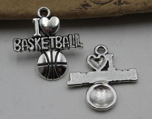30//60pcs Retro style basketball Charm Pendant DIY Jewellery crafts 21X20mm