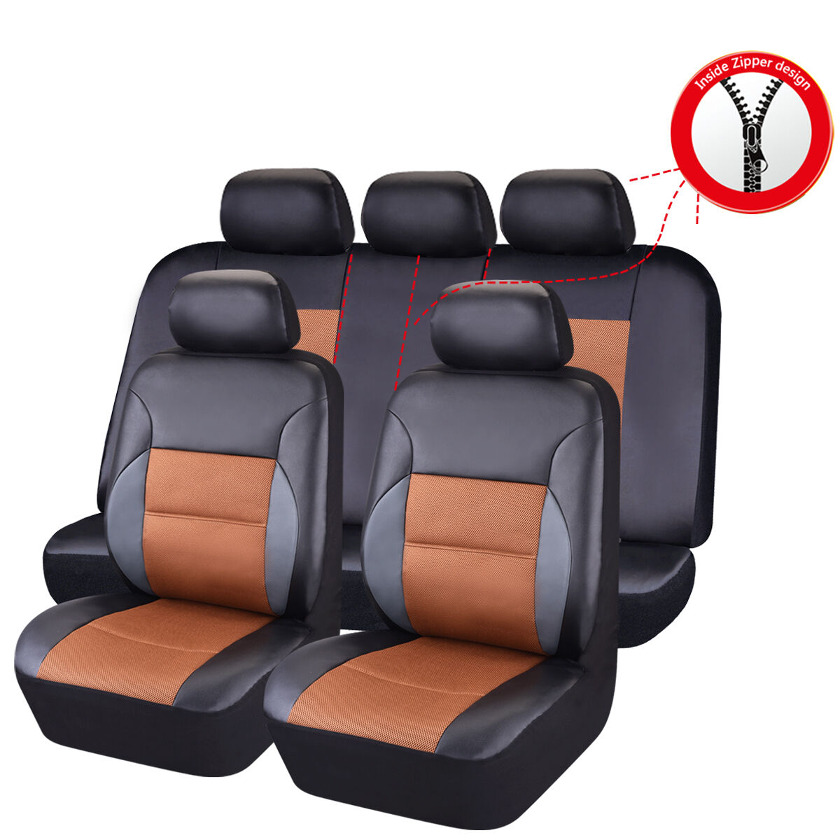 CAR PASS Breathable PU Leather Universal Fit Car Truck Suv