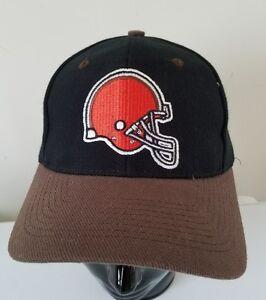db3e4362 Details about Cleveland Browns Helmet Logo Embroidered Block Letters Vtg  Snapback NFL Cap Hat