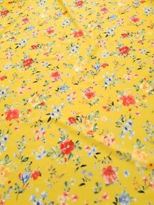 2 Metres amazing quality yellow floral scuba crepe fabric
