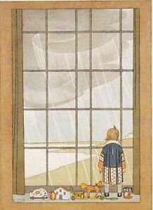 Rainy Day Child looks out at the Rain Art Deco print repro Postcard