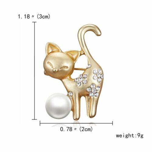 New Fashion Pearl Crystal Animal Cat Fish Brooch Pin Women Wedding Jewelry Gift
