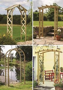 Image Is Loading Curved Top Wooden Garden Arch Trellis Sides Timber